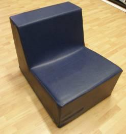 stoel zonder leuning ,blauw stamskin,volledig poyether
