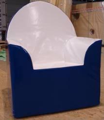 stoel, blauw-wit,volledig poyether